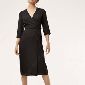 Brand New Aritzia Babaton Theo Wrap Dress Black